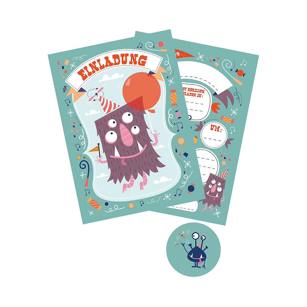"10 einladungskarten ""monster"" + 11 sticker, | mytoys"