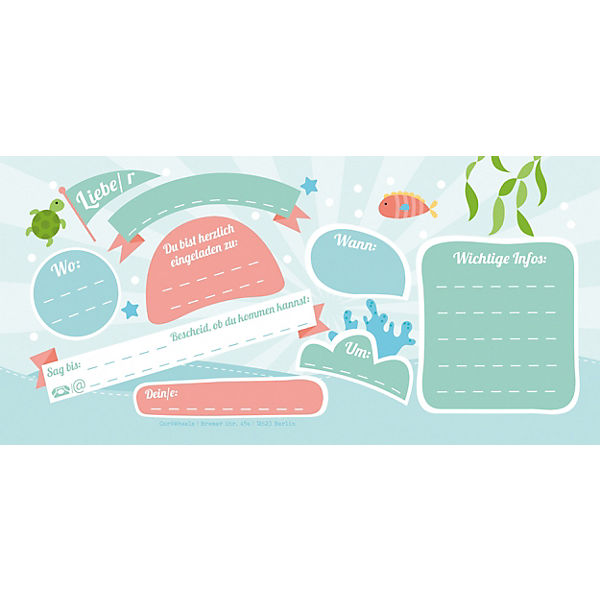 "10 Einladungskarten ""Meerjungfrau"" + 11 Sticker,  ai7ok4"