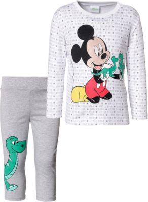 Disney Mickey Jungen Langarmshirt und Hose wei/ß