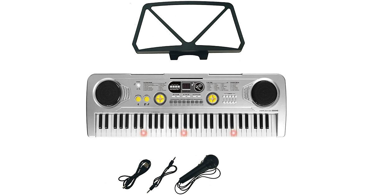 Keyboard 61 Tasten, mit Mikrofon, USB Kabel und Lernheft, 73 cm