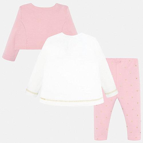 Комплект Mayoral: кардиган, лонгслив и леггинсы - блекло-розовый от Mayoral