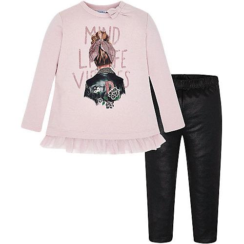 Комплект Mayoral: лонгслив и леггинсы - черный/розовый от Mayoral