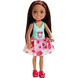 Мини-кукла Barbie Семья Челси, брюнетка в топе с тигром