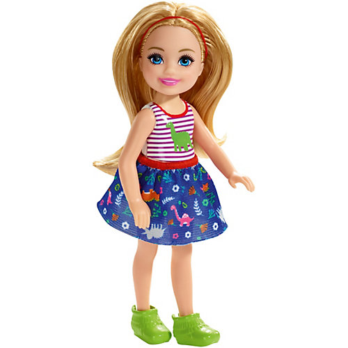 Мини-кукла Barbie Семья Челси, блондинка в топе с динозавром от Mattel