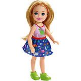 Мини-кукла Barbie Семья Челси, блондинка в топе с динозавром