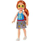 Мини-кукла Barbie Семья Челси, рыжеволосая в топе с надписью