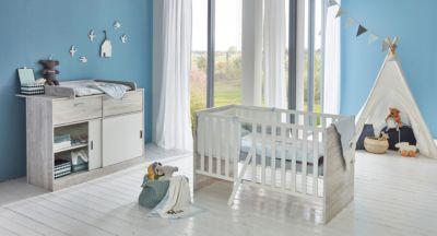 Spar Set Justus, 2 tlg. (Kinderbett exkl. Umbauseiten und Wickelkommode), Vintage Pinie Grau Nb Weiß, arthur berndt