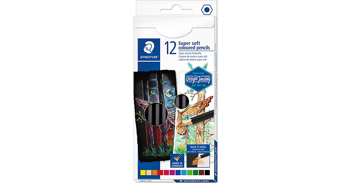 Design Journey Buntstifte Super soft, 12 Farben