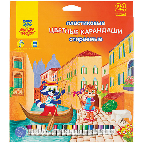 """Цветные карандаши Мульти-Пульти """"Енот в Венеции"""", 24 цвета от Мульти-Пульти"""