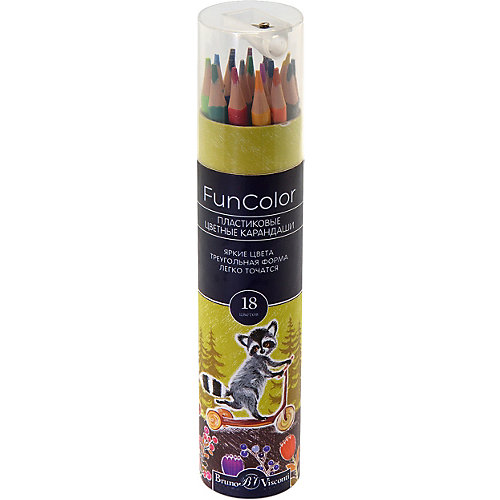 Карандаши цветные FunColor, в картонной тубе, 18 цветов, Bruno Visconti от Bruno Visconti