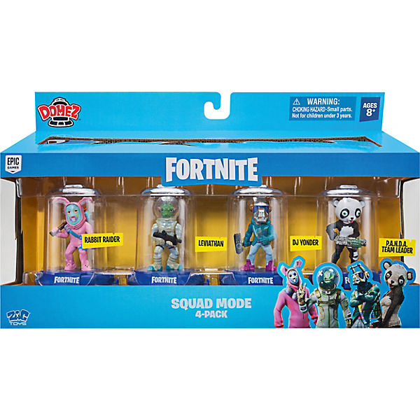 DOMEZ- Fortnite 6 cm Sammelfiguren 4-er Pack (Squad Mode - DJ Yonder, Rabbit Raider, Panda Team Leader, Leviathan)