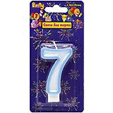 """Свеча для торта Action! """"Цифра 7"""", разноцветная, 7 см"""