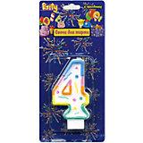 """Свеча для торта Action! """"Цифра 4"""", разноцветная, 7 см"""