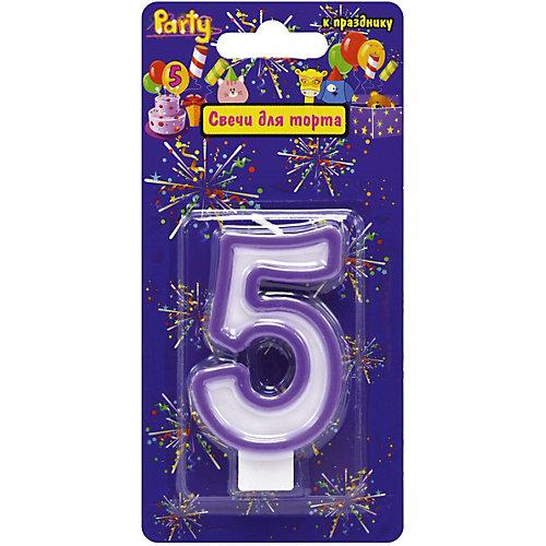 """Свеча для торта Action! """"Цифра 5"""", разноцветная, 7 см от ACTION!"""