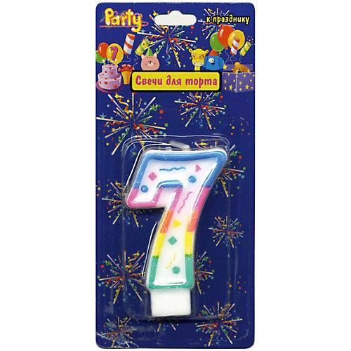"""Свеча для торта Action! """"Цифра 7"""", разноцветная, 7 см от ACTION!"""