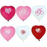 """Воздушные шары Action! """"Сердечки"""" С принтом I Love You, разноцветные, 10 шт"""