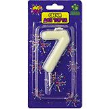 """Флюоресцентная свеча для торта Action! """"Цифра 7"""", с держателем"""