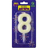 """Флюоресцентная свеча для торта Action! """"Цифра 8"""", с держателем"""