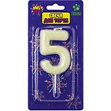 """Флюоресцентная свеча для торта Action! """"Цифра 5"""", с держателем"""