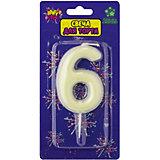 """Флюоресцентная свеча для торта Action! """"Цифра 6"""", с держателем"""