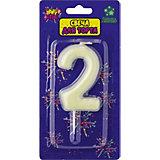 """Флюоресцентная свеча для торта Action! """"Цифра 2"""", с держателем"""