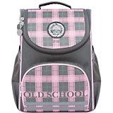 Рюкзак школьный Grizzly, серо - розовый