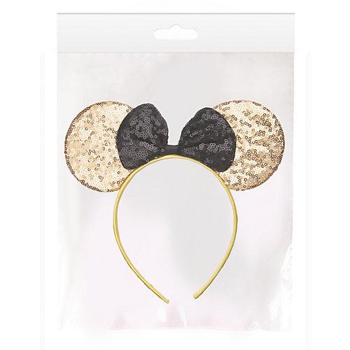 """Ободок Fenix-present """"Мышка"""", с пайетками, золотистый от Феникс-Презент"""