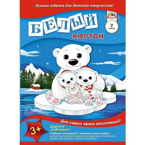 """Белый картон Апплика """"Белые мишки на льдине"""" 8 листов А4 от АппликА"""