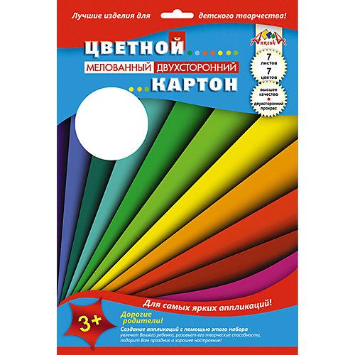 """Цветной мелованный картон Апплика """"Цветные полосы"""" 7 листов А4 от АппликА"""