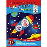 """Цветная двухсторонняя бумага Апплика """"Космическое путешествие"""" 16 листов А4"""