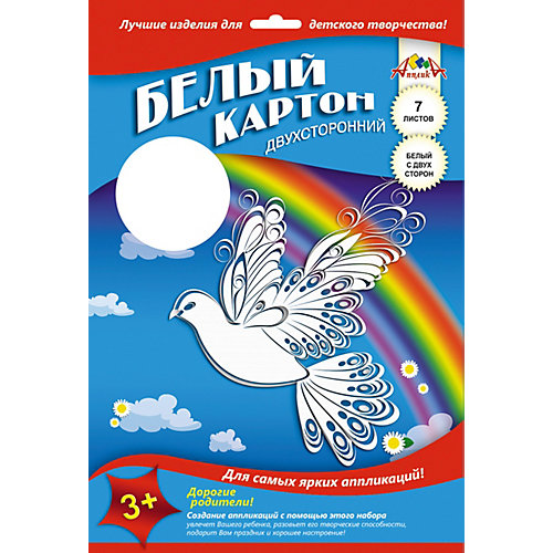 """Белый картон Апплика """"Белый голубь"""" 7 листов А4 от АппликА"""