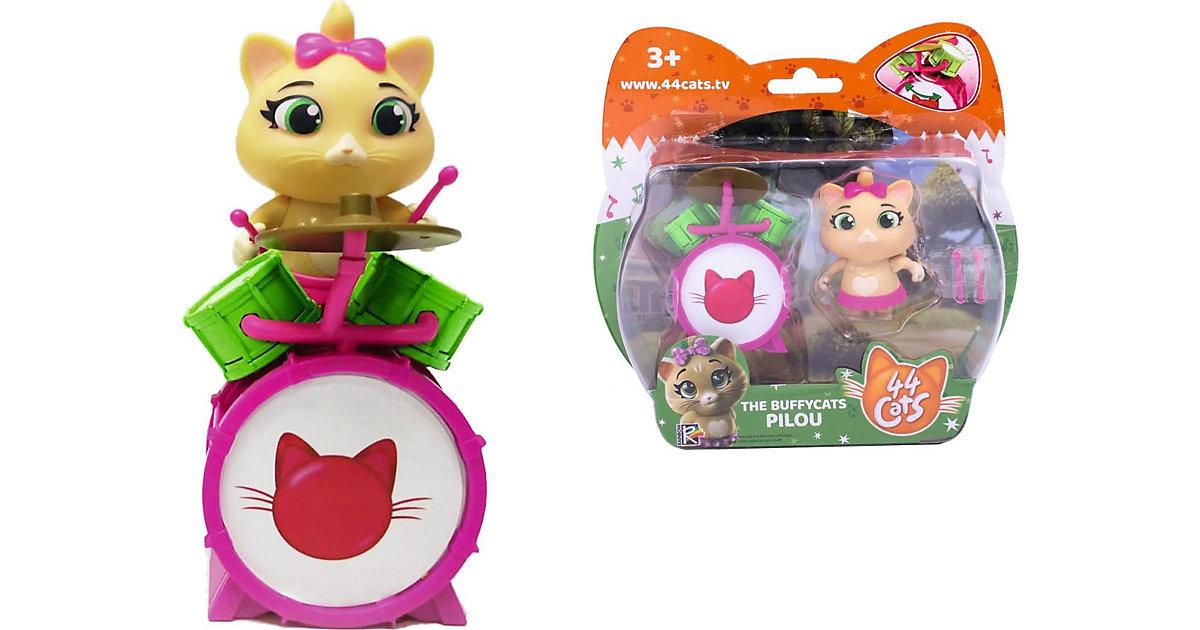 44 Cats Spielfigur Pilou mit Schlagzeug grün/pink