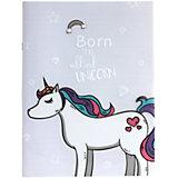 """Тетрадь Mihi-Mihi Born To Be Wild and Unicorn """"Единорог"""", линейка, белая"""