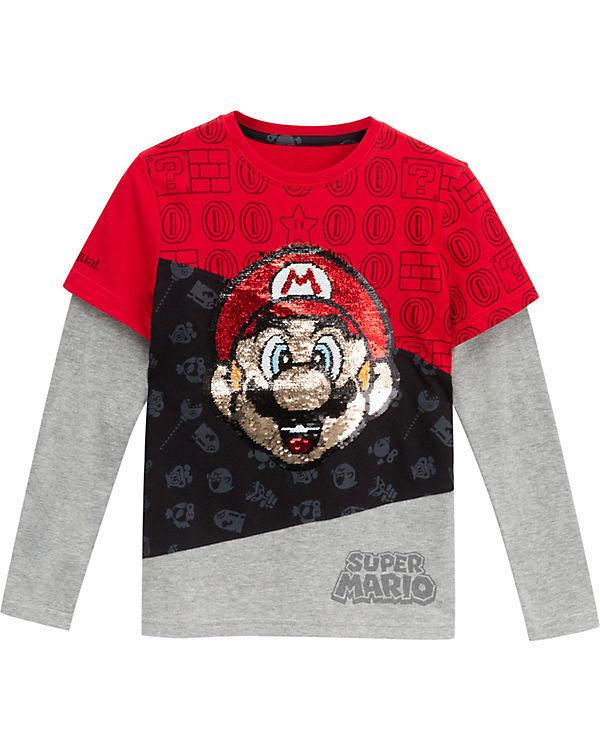 neueste art Räumungspreise großartige Qualität Super Mario Langarmshirt mit Wendepailletten für Jungen, Super Mario