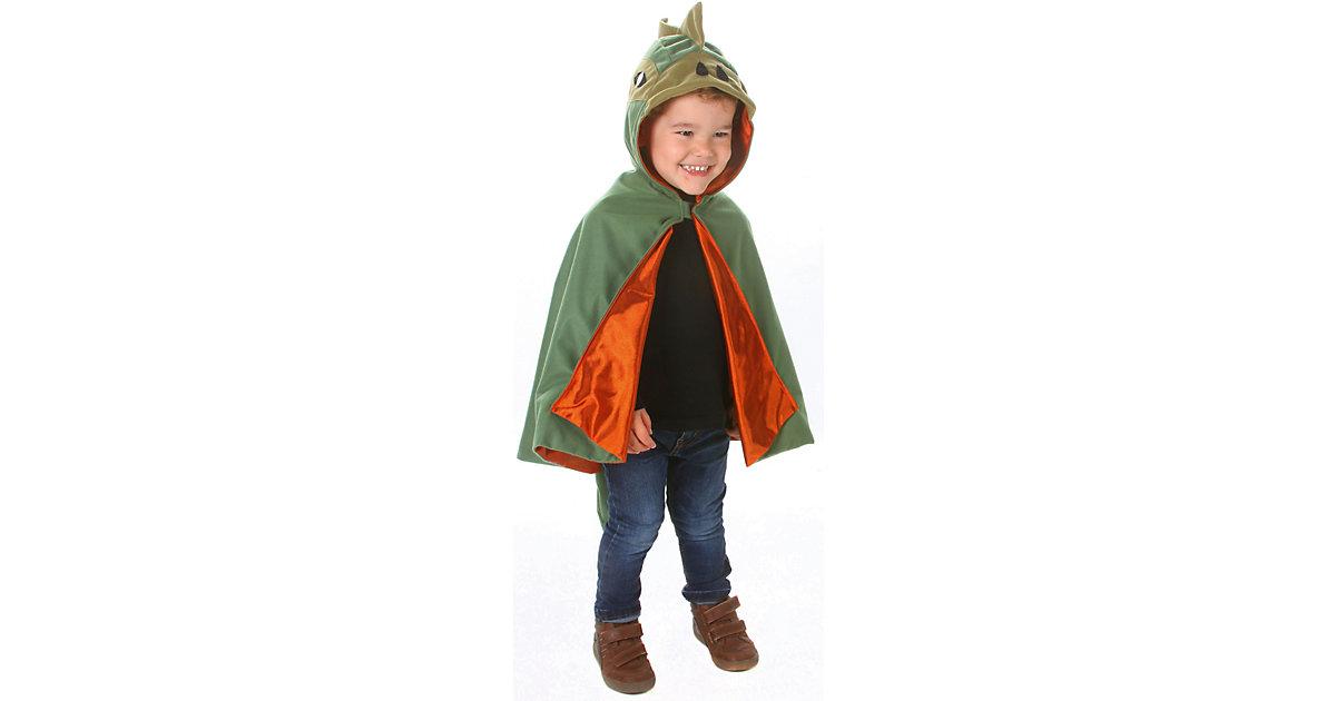 Umhang Dinosaurier grün/orange Gr. 104/116 Jungen Kleinkinder
