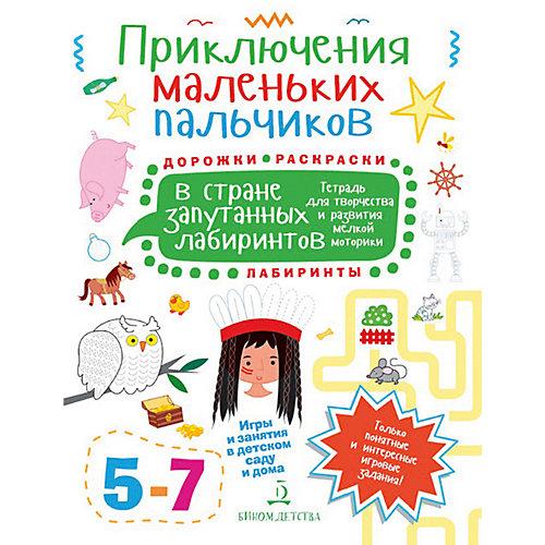 """Тетрадь для творчества Приключения маленьких пальчиков """"В стране запутанных лабиринтов"""", для детей 5-7 лет от Бином"""