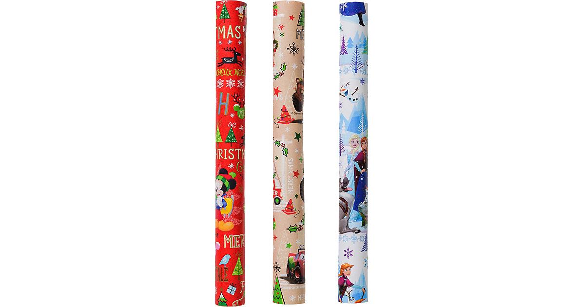 XMS ZOEWIE Geschenkpapierset Weihnachten Disney, 2m x 0,35 m, 3 Rollen