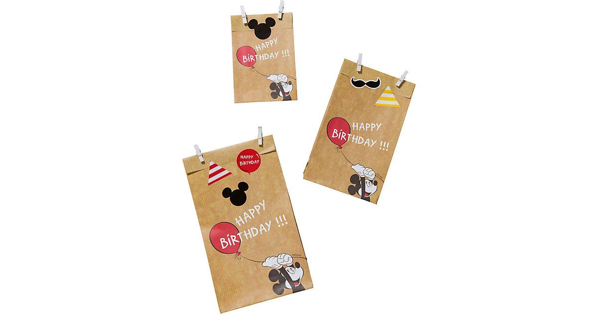 "ZOEWIE Flat Bags Geschenktüten ""Happy Birthday, Mickey!"", 6 Stück inkl. Klammern"