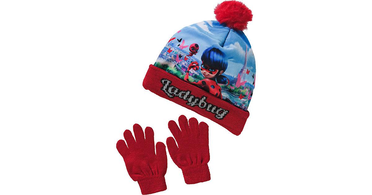 Miraculous Set, Mütze + Handschuhe  rot Gr. 52 Mädchen Kleinkinder