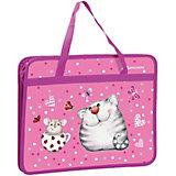 """Папка на молнии Brauberg """"Кошка и мышка"""", А4, с ручками, розовая"""