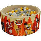 """Сухой бассейн Hotenok """"Лео и Тиг"""", бежевый с оранжевыми деревьями, 40 см, 200 шариков"""