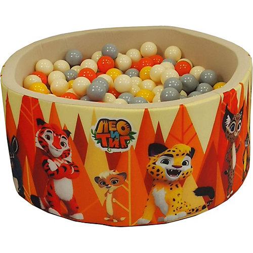 """Сухой бассейн Hotenok """"Лео и Тиг"""", бежевый с оранжевыми деревьями, 40 см, 200 шариков от Hotenok"""
