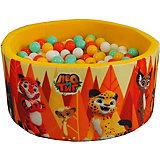 """Сухой бассейн Hotenok """"Лео и Тиг"""", желтый с оранжевыми деревьями, 40 см, 200 шариков"""