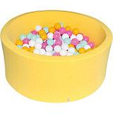 """Сухой бассейн Hotenok """"Лимонная жвачка"""" 40 см, 200 шариков"""