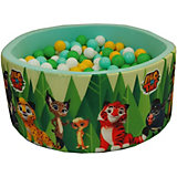 """Сухой бассейн Hotenok """"Лео и Тиг"""", мятный с зелеными деревьями 40 см, 200 шариков"""