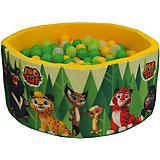 """Сухой бассейн Hotenok """"Лео и Тиг"""", желтый с зелеными деревьями 40 см, 200 шариков"""