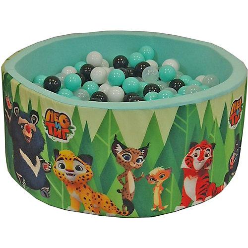 """Сухой бассейн Hotenok """"Лео и Тиг"""", мятный с зелеными деревьями, 40 см, 200 шариков от Hotenok"""