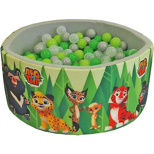"""Сухой бассейн Hotenok """"Лео и Тиг"""", серый с зелеными деревьями, 40 см, 200 шариков от Hotenok"""