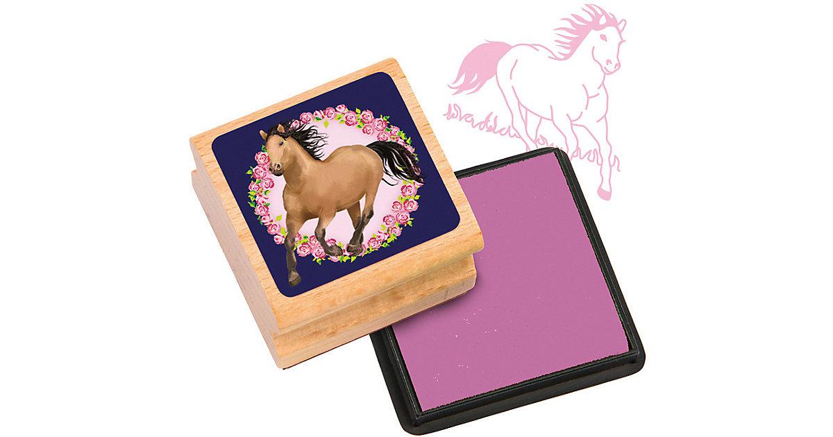Stempelset Pferde, 2-tlg. rosa/natur