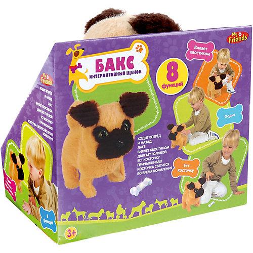 """Игрушка MY FRIENDS """"Интерактивный щенок"""" Бакс, 16 см, на батарейках, со светящейся косточкой от My Friends"""